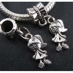 Silver Beautiful Girl Dangle Charm Bead for Bracelet or