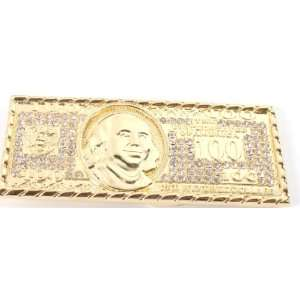 Iced Out Benjamin Franklin 100 Dollar Bill Gold Belt Buckle One Size