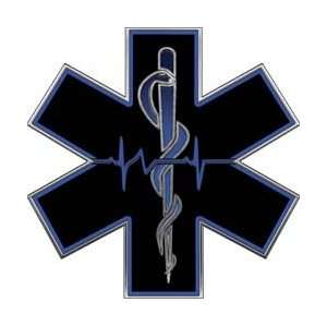 Blue EMT EMS Star Of Life With Heartbeat   28 h