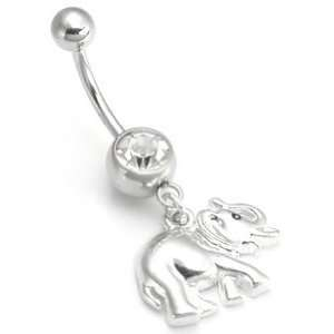 14g 12g 10g BABY ELEPHANT Playing Belly Ring 14g 1/4~6mm AB: Jewelry