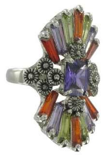 LARGE Purple Green Orange Crystal White Gold GP Ring