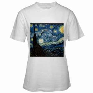 Van Gogh Starry Night Womens White T Shirt S,M,L,XL