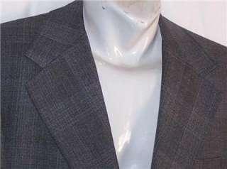 40R Vintage MAGEES GRAY BLUE GOLD PLAID Sb sport coat suit blazer