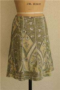 ANN TAYLOR PETITES PRETTY GREEN LATTICE TRIM SKIRT 00P