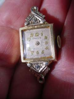 Antique Gruen ART DECO 14K GOLD & DIAMOND LADIES WATCH Needs Repair