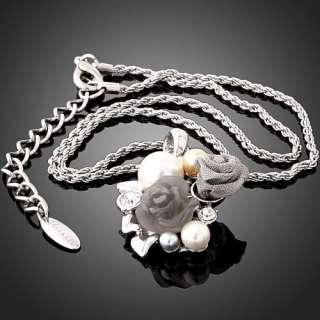 ARINNA Swarovski Crystal rose pearl GP fashion Necklace