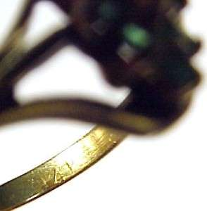 Emerald and Diamond Accented 14K Solid Yellow Gold Ladies Ring ~ In