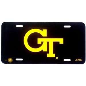 Georgia Tech Yellow Jackets Black Plastic License Plate W