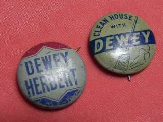DEWEY WARREN PRESIDENTIAL POLITICAL CAMPAIGN PIN BADGE BUTTON