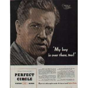 My boy is over there, too! .. 1944 Perfect Circle Piston Rings Ad