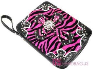 NEW SUEDE Zebra Print Bible Book Case BLING CRYSTAL Rhinestone Cross
