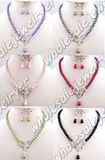 lot 6set rhinestone&imitation pearl Necklace+Earring