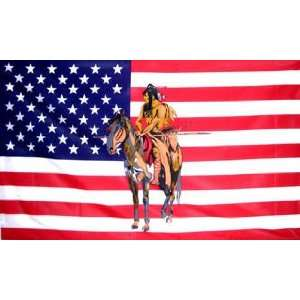 3 x 5 American Flag with American Indian on Horse Wall
