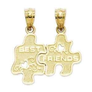 14k Gold Best Friends Puzzle Pieces Break apart Pendant