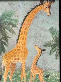 Giraffe Mom Baby Nursery Kids Childs Wall Art Framed Hanging