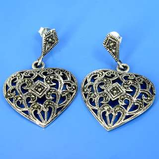 925 Sterling Silver Natural Marcasite Earring (YSE 124)