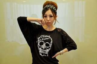 T1499 Funky Skull Lace Bat Sleeve Black Top T Shirt