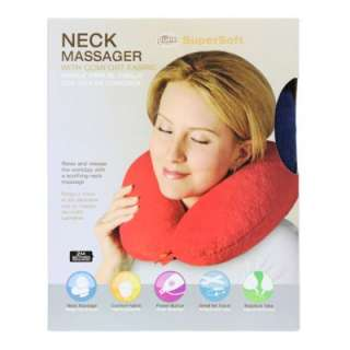 Guee Massage Neck Massager Travel Pillow w/ Comfort Fabric Black Red
