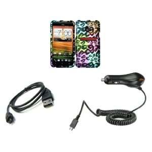 HTC EVO 4G LTE (Sprint) Premium Combo Pack   Neon Leopard Animal Print
