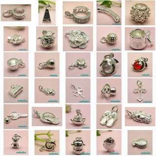 10pcs 925 STERLING SILVER CHARM PENDANTS ASSORTED JEWELRY BEADS FIT