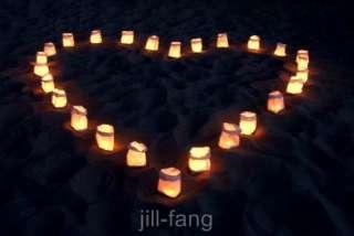 10 White Heart Candle Bags Luminarie Lantern Wedding Event Deco Night