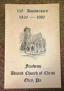 1830   1980 Anniversary Booklet of Friedens Church Oley Valley, Pa
