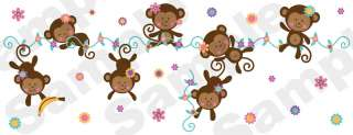 GIRL MONKEYS PINK YELLOW PURPLE FLOWERS NURSERY BABY WALL BORDER