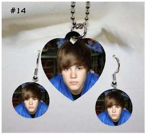 JUSTIN BIEBER Photo Charm Necklace & Earring Set #14