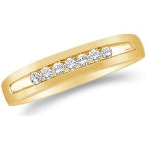 Size 12   14K Yellow Gold Diamond MENS Wedding Band Ring   w/ Channel