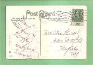 CENT STAMP PLATE # ATTACHED To NEW YEAR Vintage 1907 Postcard   RARE