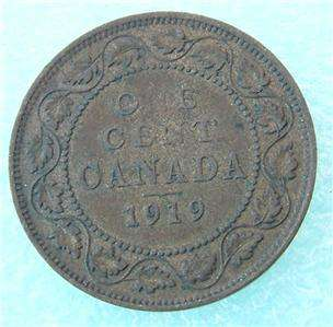 1919 Canada Canadian PENNY 1 one CENT LARGE cent COIN