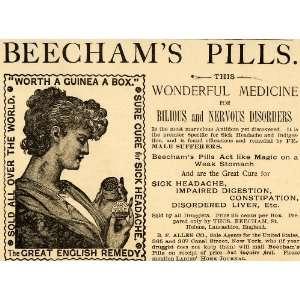 1890 Ad Beecham Pills Medicine Bilious Nervous Allen Co