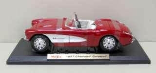 1957 Chevrolet Corvette Diecast Model   Red Maisto 118