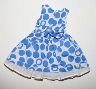 THE CHILDRENS PLACE   Blue & White Polka Dot Spring Dress   Size  18