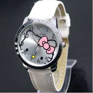 Hello Kitty Large Face Quartz Watch   White Band + Hello Kitty Pouch