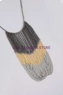 NWT GUESS Tri tone Chain Bib Necklace gold black silver