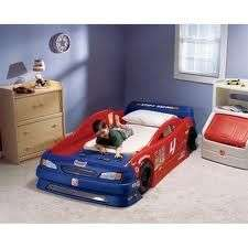 Step 2 Stock Race Car Convertible Bed Toddler Twin Red and Blue child