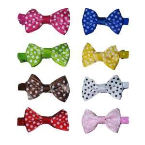 Lot of 60 Polka Dot Bow Hair Clips Mix Colors High Quality