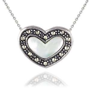 Silver Marcasite and Mother of Pearl Heart Pendant, 18 Jewelry