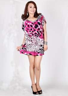 Fabulous casual loose lady summer pink mini short T shirt top dress