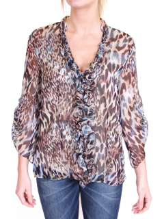 TRUSSARDI JEANS Leopard Printed Silk Top Blouse IT 42  US 8