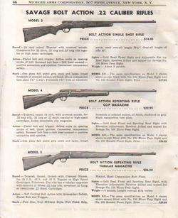 1951 SAVAGE MODEL 3 4 & 5 .22 RIFLES PRINT AD