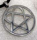 Heartagram Heart Pentagram Star Pewter Pendant Necklace