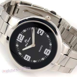 High Quality Black Dials Mens Quartz Stainless Steel Wrist Watch NEW