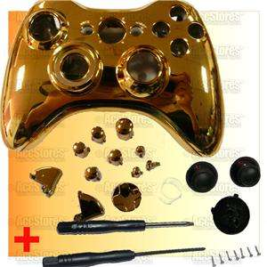 xbox 360 controller shell case button chrome gold painting