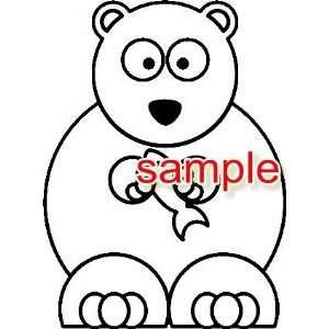 CARTOON BEAR WHITE 10 VINYL DECAL STICKER