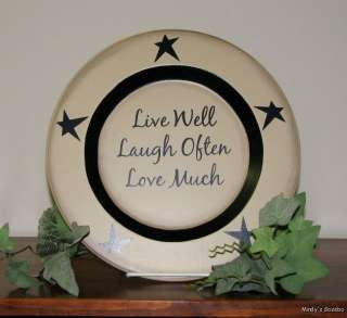 Primitive 10 Wood Plate LIVE LAUGH LOVE, FAITH FAMILY FRIENDS Rustic