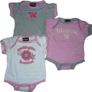 University Of Washington Huskies 3pc Creeper / Onesie Pink