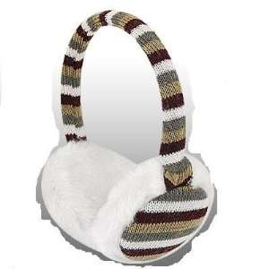 FASHIONABLE STRIPED (GRAY, WHITE, BROWN, GOLD) WINTER EAR MUFFS