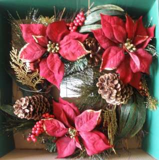 Holiday Time 20 Poinsettia Pine Wreath Christmas Front Door Winter